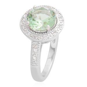 Jewelry - Green and White CZ Silvertone Ring  2.08 cts
